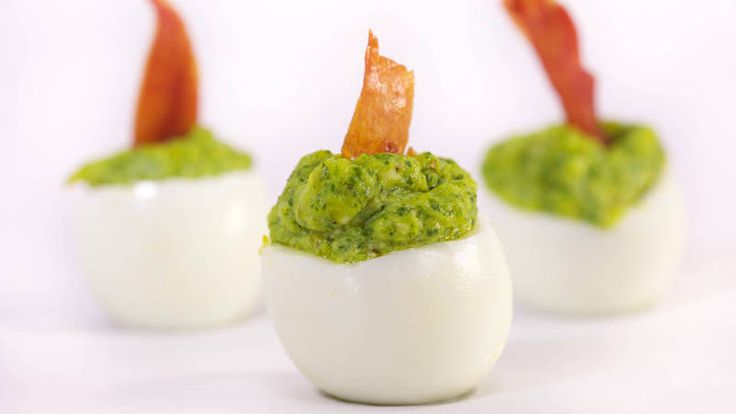 Rach's devilled eggs with jalapenos and parsley are an Easter brunch fave