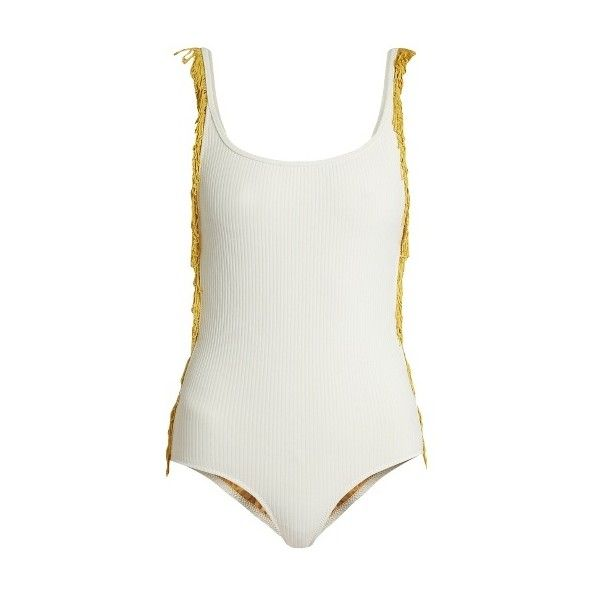 Made By Dawn Petal 2 swimsuit ($250) ❤ liked on Polyvore featuring swimwear, one-piece swimsuits, cream, one piece swimsuit, strappy one piece swimsuit, open back bathing suits, made by dawn and strappy bathing suit