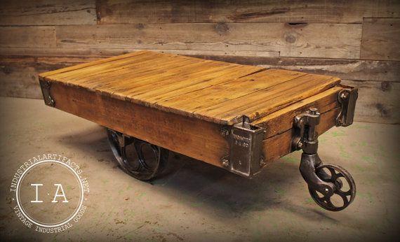 vintage industrial cast iron wheel factory rail yard rocker cart