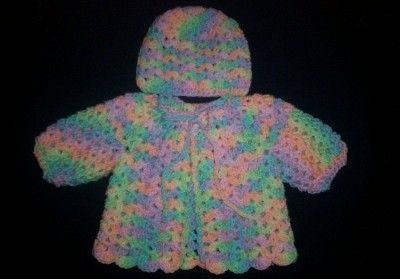 Baby Girl Shell Sweater and Hat #babygirlsweaters