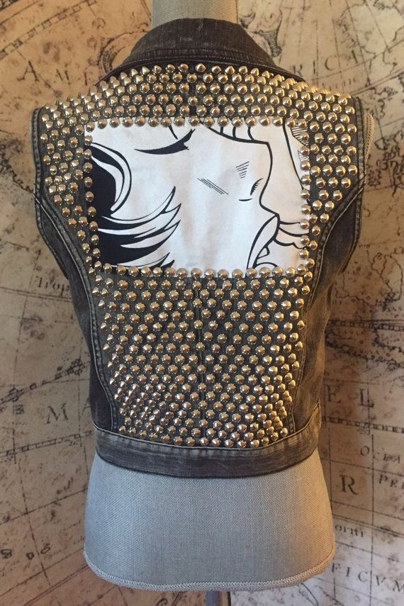 S-M Black Distressed Studded Denim Vest With Lichtenstein Style Patch on Back Size Small-Medium