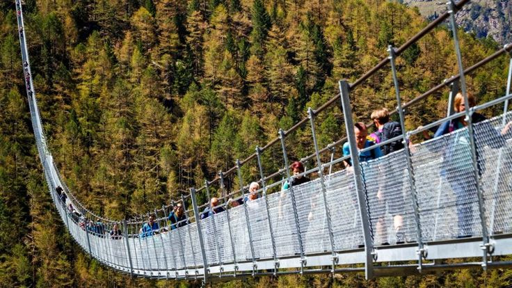 The Europe Bridge spans 494m (1,640ft) and hangs up to 85m above a ravine near the town of Zermatt.