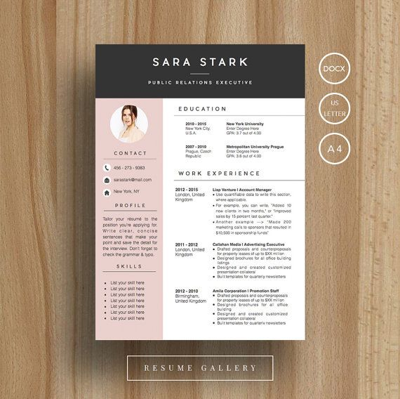 Creative Resume Template | CV Template | Cover Letter | For MS Word / iWork…
