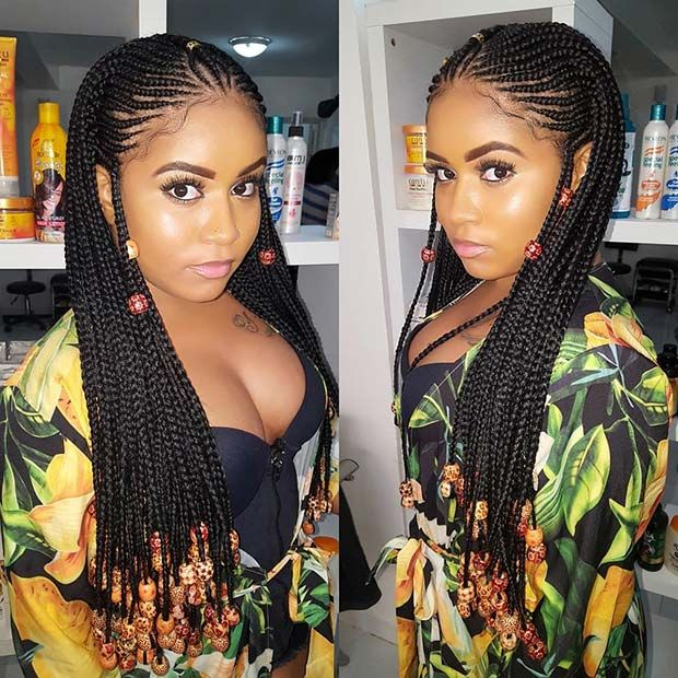 Beaded Fulani Inspired Long Braids Jpg 620 620 With Images