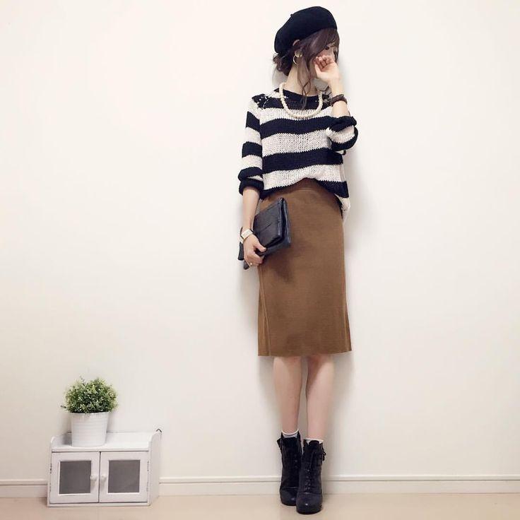 お返事前に失礼致します! #今日のコーデ です☺︎♪ 暑いのでざっくり網目のサマーニットにミラノリブのタイトスカートを合わせましたヽ(∀)ノ tops/bag#bershka skirt#しまむら #handmadeaccessory#fashion#outfit#code#accessory#kurashiru#ponte_fashion#しまパト#ベレー帽#ボーダー#ハンドメイドアクセサリー#プチプラ#プチプラコーデ#シンプル#シンプルコーデ#コーデ#コーディネート#kaumo#gumania#locari#beaustagrammer#mineby3mootd#ootd_kob#大人カジュアル#スナップミー