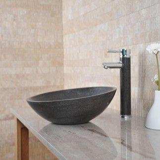 Vasque lavabo en pierre ronde MARYNA - Calcaire gris foncé