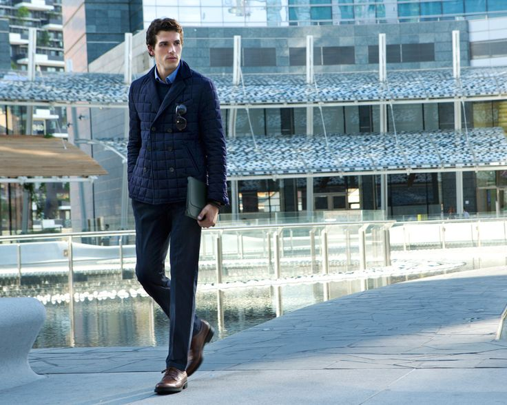 Fay City Diaries features the Men's Fall - Winter 2013/14 collection with the polished backdrop of Milan. Quilted Peacoat.  http://www.fay.com/it/city-diaries/milano