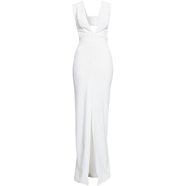 Solace London Dylan Maxi Dress ($155) ❤ liked on Polyvore featuring dresses, gowns, white, party dresses, womens-fashion, white dress, white maxi dress, zipper dress, zip dress and front slit dress
