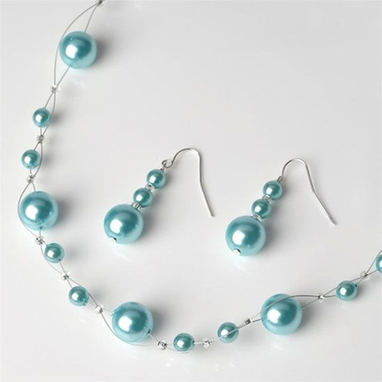 Aqua Pearl Jewelry Set