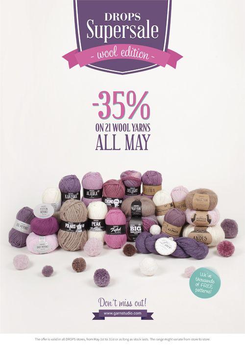 35% di sconto su 21 filati di lana dal 26 aprile al 31 maggio 2015 da FIORDILANA