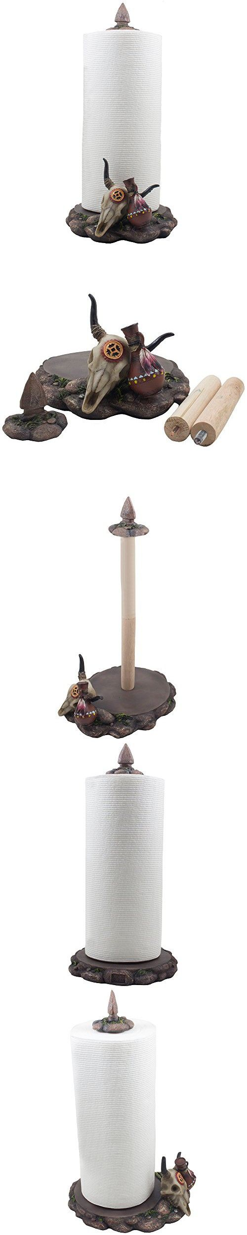 Decorative Southwestern Paper Towel Holder Sculpture with Bull Skull, Pottery and Indian Arrowhead on Display Stand in Western & Southwest Kitchen Decor and Native American Art Gifts