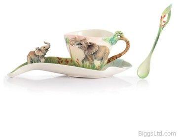 FRANZ PORCELAIN COLLECTION Family Fun Elephant Cup, Saucer, Spoon FZ03024 - transitional - Artwork - Biggs Ltd.