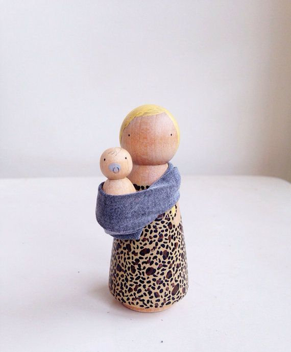 Mother and baby peg doll set por madebylayla en Etsy