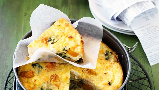 This delicious dish is perfect for a midweek dinner or served at room temperature at a picnic. There is no fiddly pastry – it creates its own delicate golden crust as it bakes. Vary it with parmesan grated over the top or fresh herbs stirred through the egg mixture before baking.