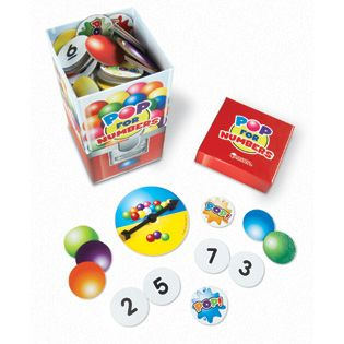 POP for Numbers™ Game - Compare numbers to see who keeps the gumballs! Fast-paced game reinforces number recognition and comparison, and place value skills. 3 levels of play challenge learners to build and compare bigger numbers. Includes 90 numerical cards (0-9) 10 pop cards, spinner, and gumball machine box. LER8440