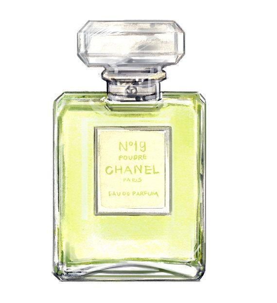 Chanel Perfume Watercolor Art Print - Chanel No 19 Watercolor Fashion Illustration,. $10.00