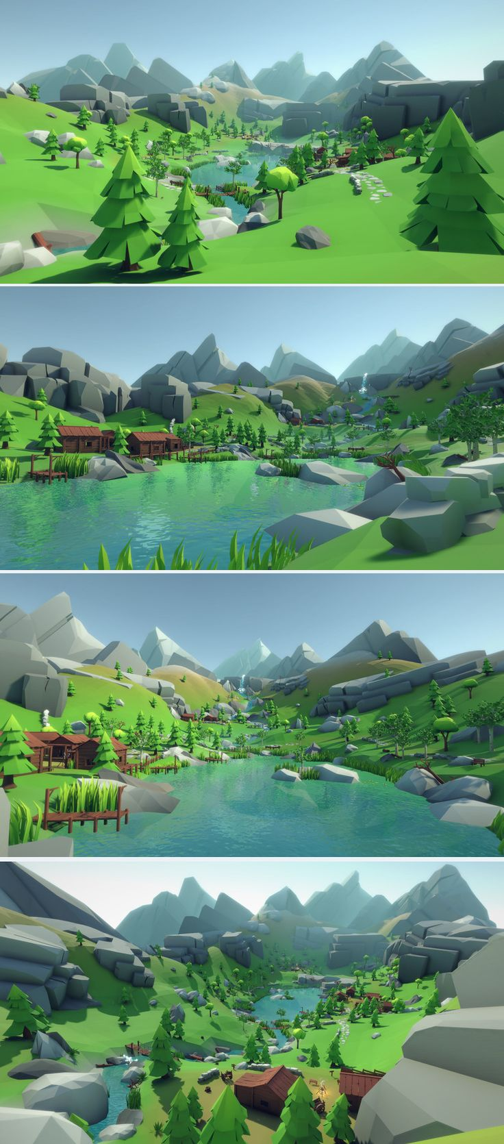 Lowpoly Style Alpine Woodlands Environment Build your own Mountain or Woodland levels and landscapes with this asset pack! A demoscene is also included. The pack contains a lot of assets: Plants, Rocks, Mountains, Trees, Buildings, Camps & Tents, Walls, Particle Effects und much more. Performance: Everything shares one material and one texture, so everything can be batched together to save draw calls. Unity Game Asset Store