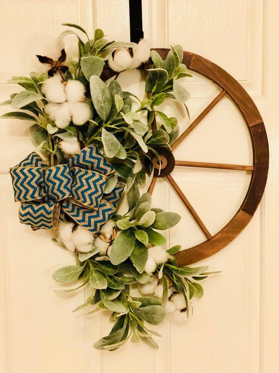Wagon Wheel Wreath Country Wreath Rustic Wreath Door Wreath Lambs Ear Wreath Cotton Wreath Fix Rustic Wreath Summer Wreath Country Wreaths