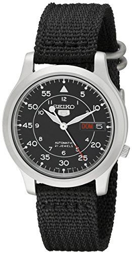 Now in stock Seiko Men's SNK809 Seiko 5 Automatic Stainless Steel Watch with Black Canvas Strap