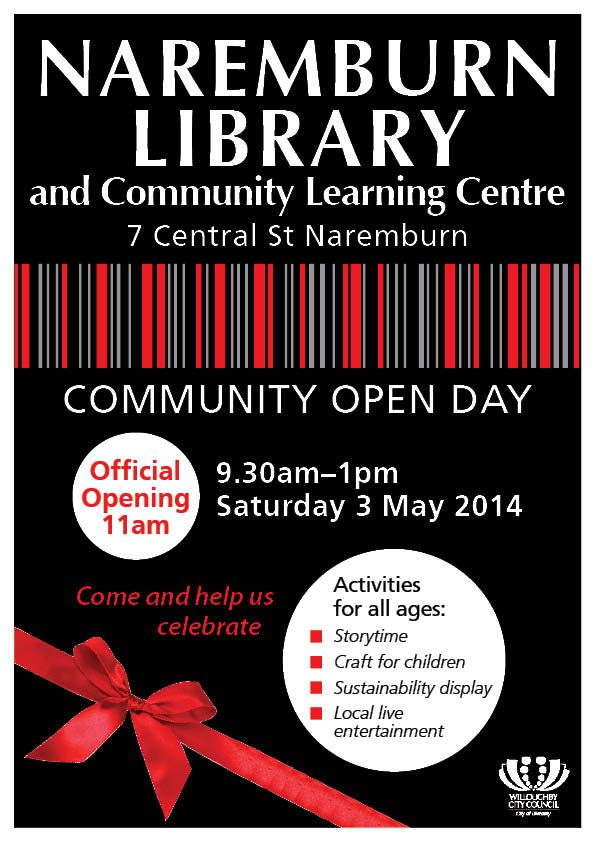 Naremburn Library Community Open Day Poster 3 May 2014