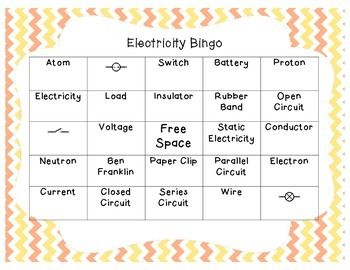 Electricity and Electrical Circuit Bingo | Electric ...