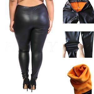 Plus Size Women Winter Warm Stretchy Faux Leather Leggings Trousers Pencil Pants  | eBay