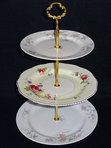 Fine bone china  3 tiered mix and match stand for hire from www.highteahire.co.nz