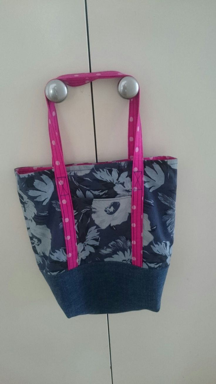 """The inspired wren lined tote. Upcycled Jeans for bottom panel. 8 1/2"""" x 11 1/2"""" x 4"""". Really easy to make."""
