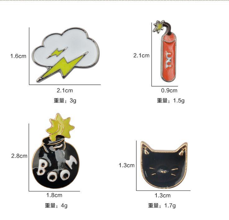 1 Set/4 Pcs Girls Men Jewelery Small Black Cat Brooches Boom TNT Cloud Pins Badge Collar Brosh Animal Brooches for Women Gift