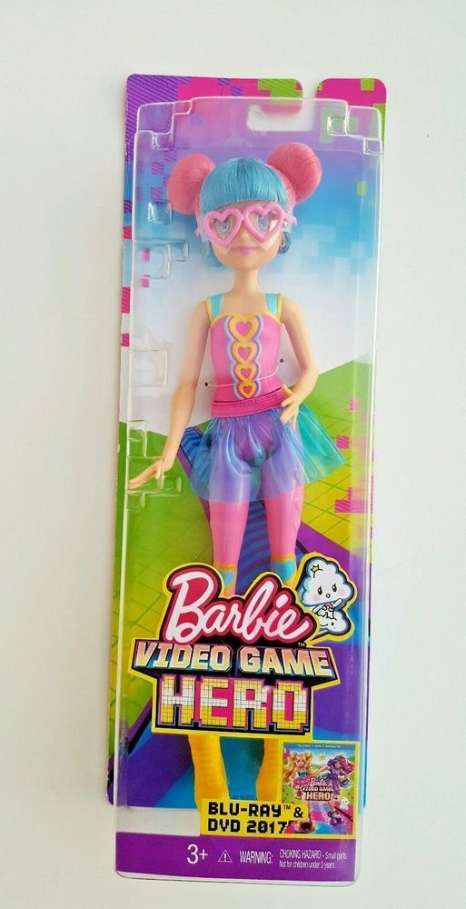BRAND NEW Barbie Video Game HERO Doll Pink Heart Eyeglasses Blue Hair NIP