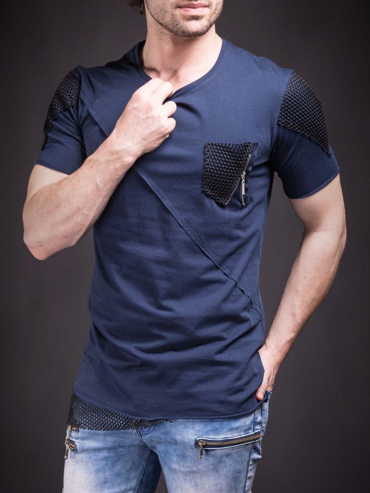 D&H Men Asymmetrical Net Zipper T-shirt - Navy Blue