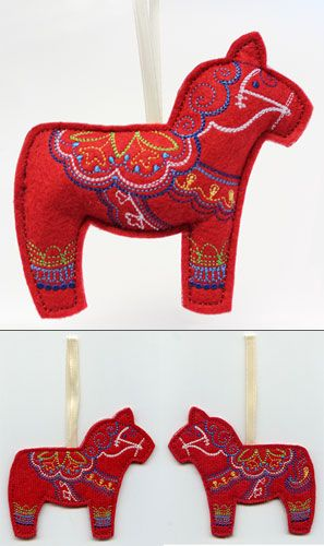 Need to make some of these for the tree this year!! > Dala Horse (Stuffed) design (UTZ1428) from UrbanThreads.com