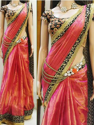 NEW LATEST RED COLOR PAPER SILK GEORGET EMBROIDERY WORK SAREE Bollywood Sarees Online on Shimply.com