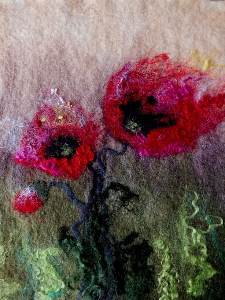 poppies painted wool