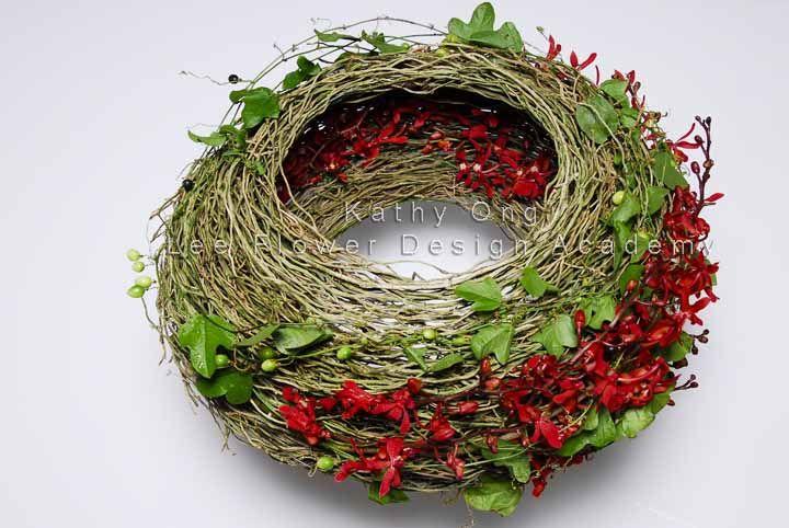 Wreath - Lee Flower Design Academy - Instructor: Kathy - www.lfda.my
