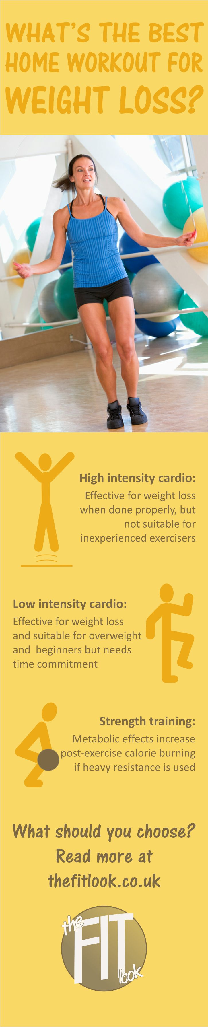 What's the best home workout for weight loss?  There are arguments for and against high intensity, low intensity and strength.  But maybe the best way is to combine them with moderate intensity intervals and muscular endurance training.