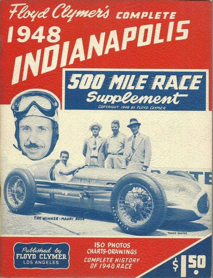 1948 ORIGINAL Indianapolis 500 Mile Race Yearbook, CLYMER, Rodger Ward by ShopDadsCollection on Etsy