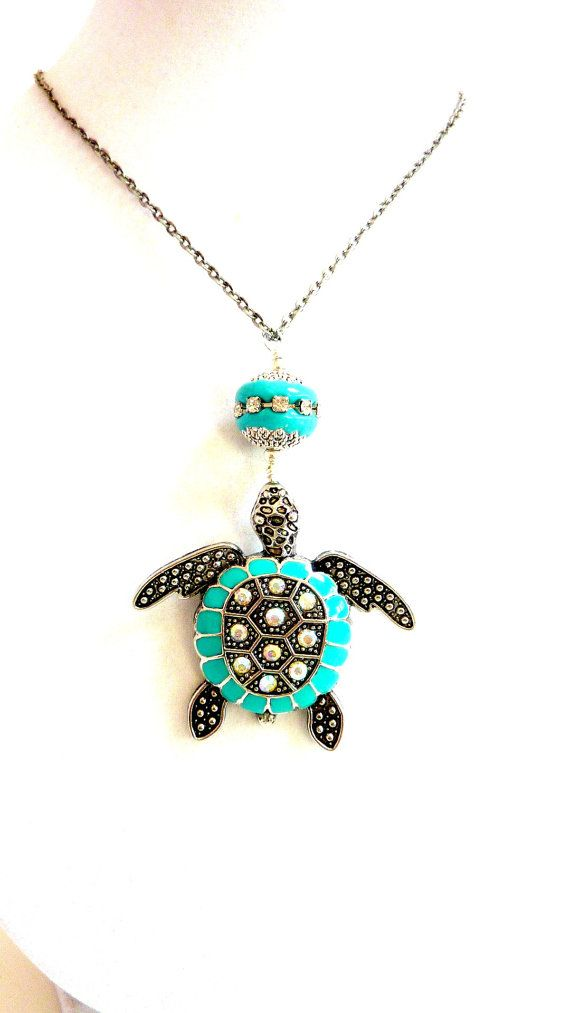 Aqua Turtle Pendant, Turquoise Rhinestone Sea Turtle Necklace, Sea Life, Tortoise Necklace, Nature, Gift for Her