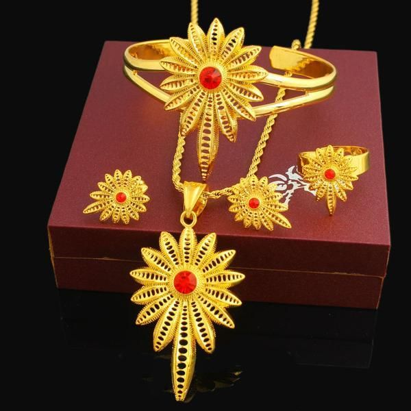 New Stone Ethiopian Jewelry Sets 24K Gold Color Women Girls Ethiopian/Eritrean/African/Arabic Jewelry Set Item Type: Jewelry SetsIncluded Additional Item Descri #GoldJewelleryArabic