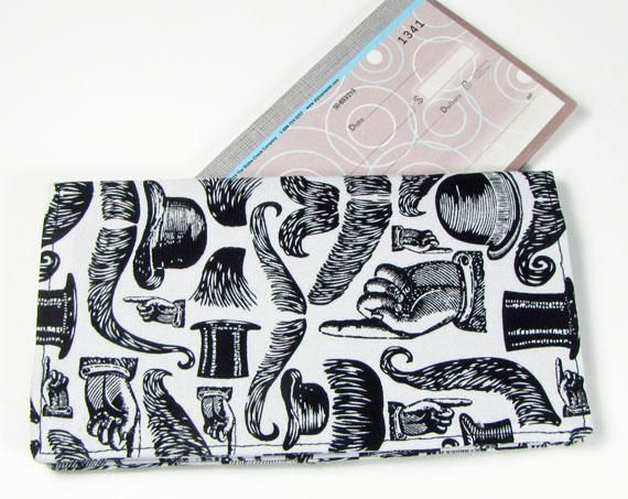 Men's mustache fabric checkbook cover,Fathers day gift,men's wallet,check book cover, men's checkbook wallet, men's checkbook, handmade by fabricfundesigns on Etsy