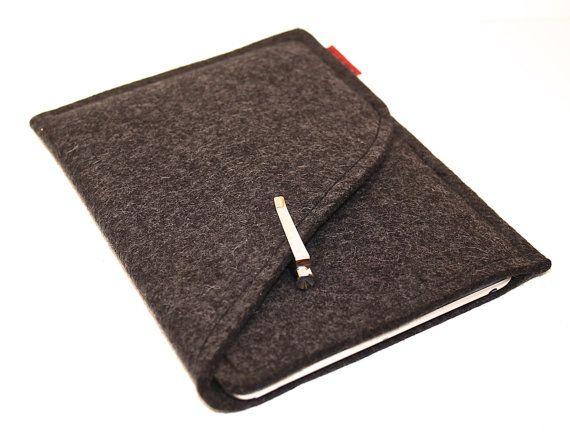 iPad Mini Sleeve/Case Wool Felt Double Pocket in Anthracite on Etsy, $31.00