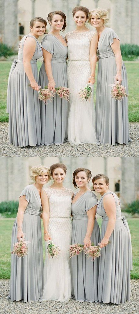 Mismatched Grey Chiffon Cheap Long Bridesmaid Dresses,VPWG258