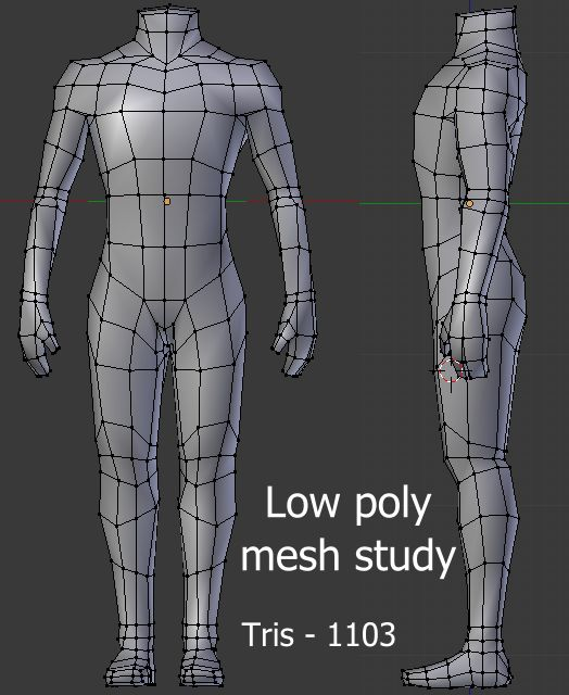 Lowpoly body mesh study - Polycount Forum