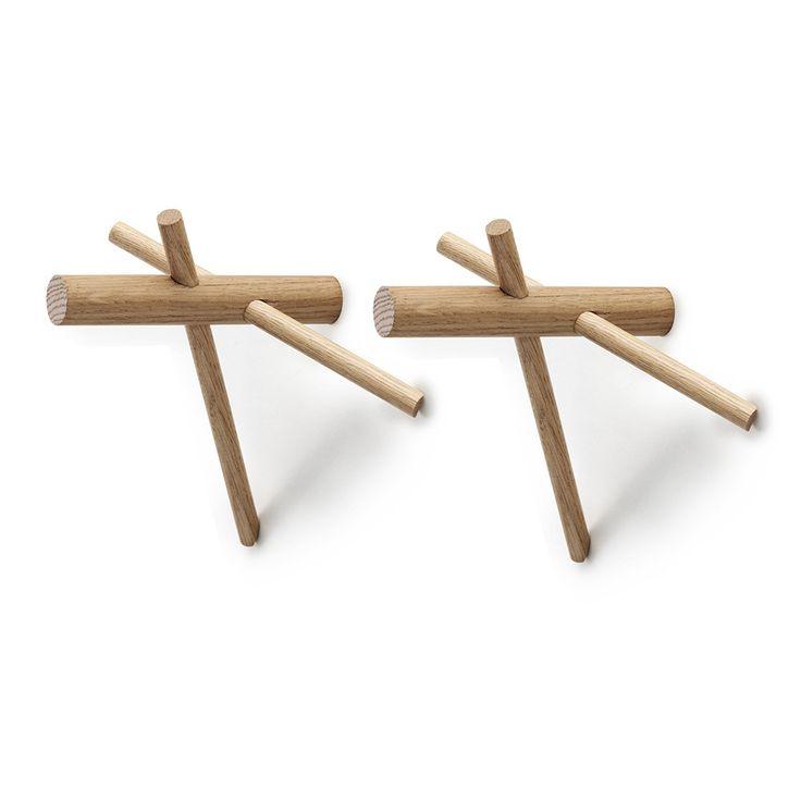£14.90 Normann Copenhagen - Sticks Hooks - Set of 2 - Nature