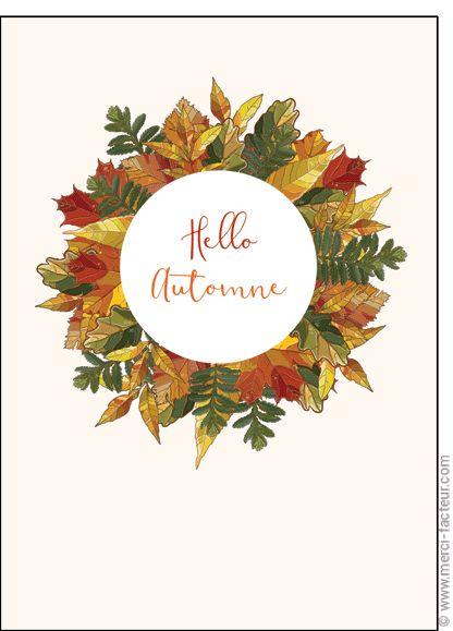 #illustration #couleur #autumn #leaves #color #plantes #café #cards #snail #autumn #plants #leaves #mushroom #coffee  Carte Hello automne pour envoyer par La Poste, sur Merci-Facteur !