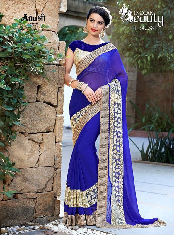 Indian beauty georgette with embroidered net patch work sarees heavy crotchet lace sarees with blouse piece
