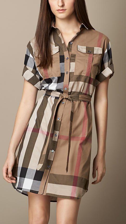 Burberry Check Cotton Box-Fit Shirt Dress   Burberry $550.00 Item 39680801 COLOUR: TAUPE BROWN