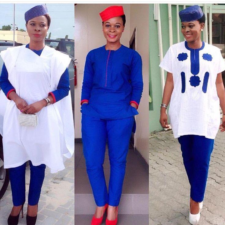 White and blue female agbada