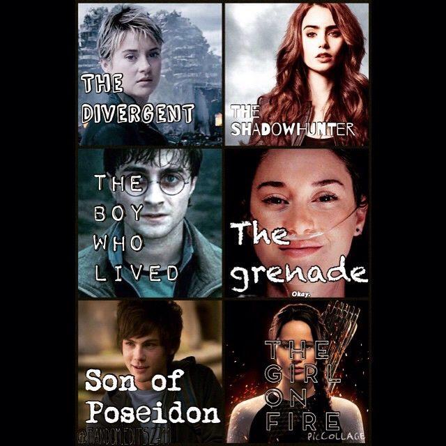 Tris Prior, Harry Potter, Percy Jackson, Clary Fray, Hazel Grace Lancaster, and Katniss Everdeen