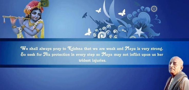We shall always pray to Krishna that we are weak and Maya is very strong,  So seek for His protection in every step so Maya may not inflict upon us her trident injuries.